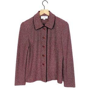 St John Collection Flower Jewel Knit Blazer Jacket